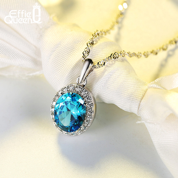 Effie Queen Women Statement Stone Necklace with Big Blue Crystal Necklaces & Pendants Round Wedding Jewelry DN123