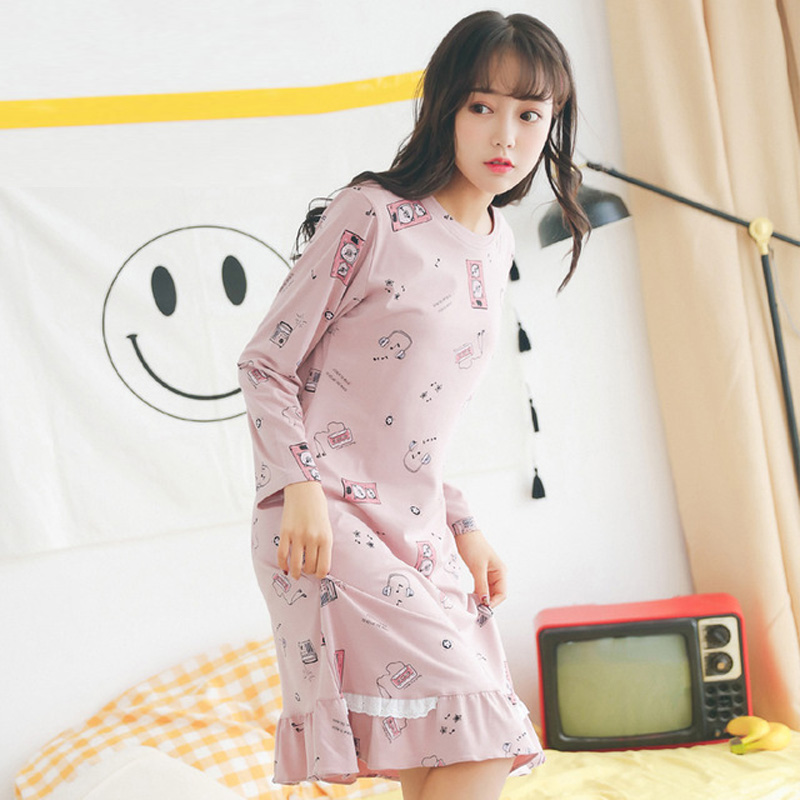 Yidanna new women's sleepwear hat cotton nightgowns sleepshirts in autumn long sleeve lounge for girl onesies winter nightdress