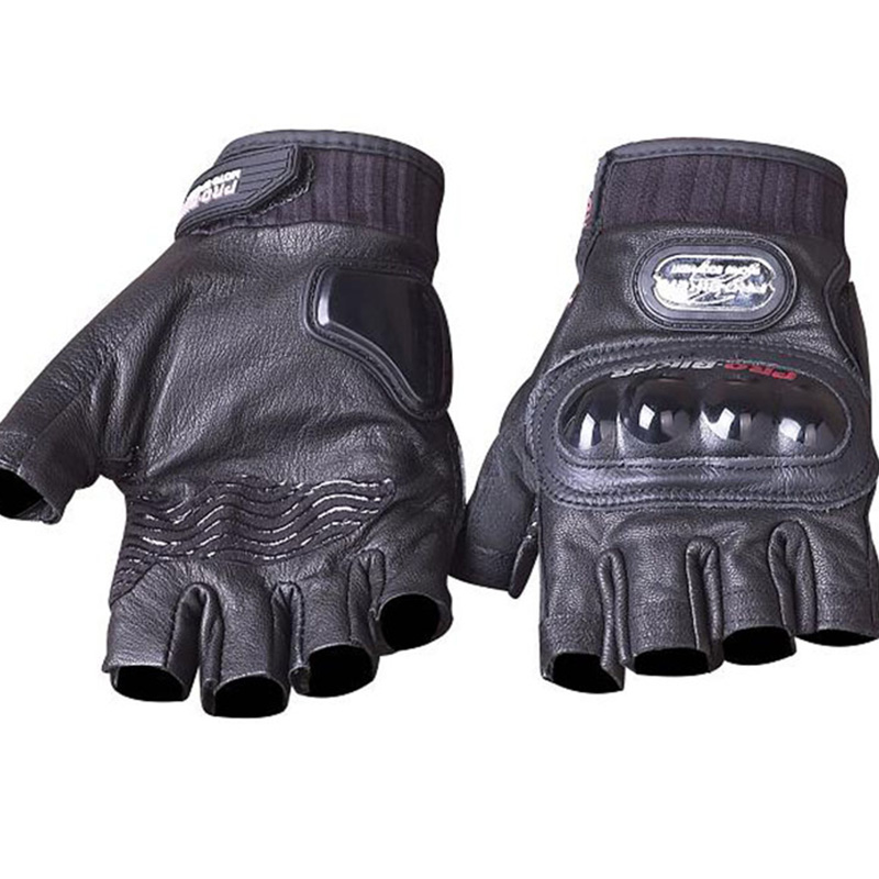 Genuine Leather Motorcycle Gloves PRO BIKER Goat Fingerless Motocross Racing Protective Gear