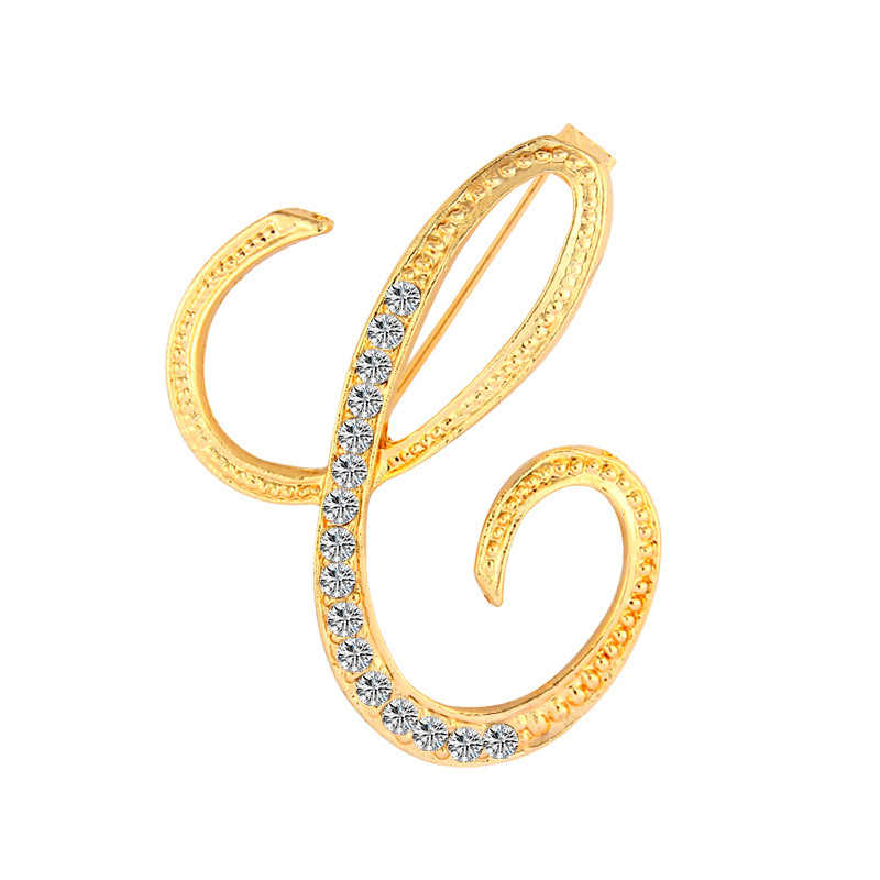 ... SHUANGR New Rhinestone Crystal Brooches Gold Color Initial Letter Brooch  A-S lapel Pins and Brooch Name ... d3ec05e0ece4
