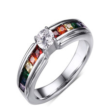 2016 Party Hot Sale Direct Selling Sapphire Jewelry Womens Cz Rings For Rainbow Ring Jewelry Bridal Sets Fashion Pr-008