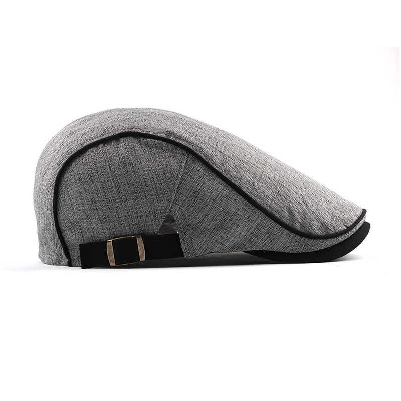 Модные летние береты для мужчин и женщин, хлопковые кепки с козырьком от солнца, уличные мужские плоские кепки, регулируемые береты, берет boina