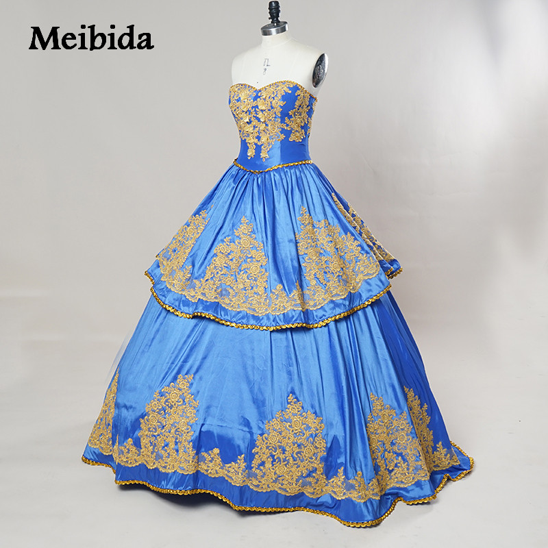 Royal Blue Ball Gown Embroidery Crystals Quinceanera ...