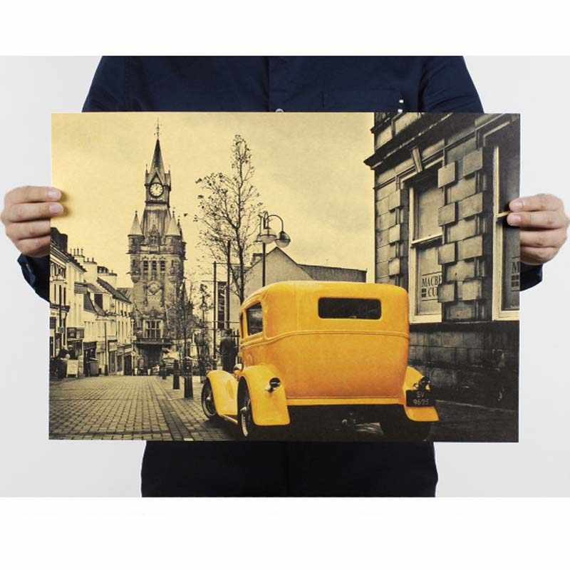 Vintage car Poster Kraft Paper Painting Pared Home Decor Decoration Posters Wall Stickers Paper Crafts 51*35.5cm