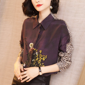 leopard floral chiffon office silk blouse womens tops and blouses 2019 summer elegant sexy boho long sleeve plus size slim