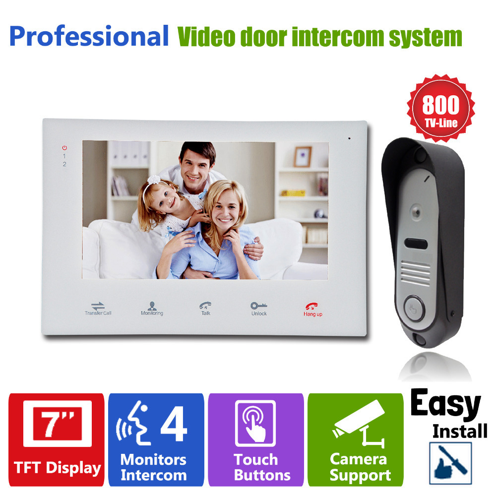 Homefong Video Door Phone Door Bell Intercom  7TFT indoor Monitor+1 Outdoor Doorbell Camera Home Entry Security Systems yobangsecurity video door intercom entry system 2 4g 9 tft wireless video door phone doorbell home security 1 camera 2 monitor