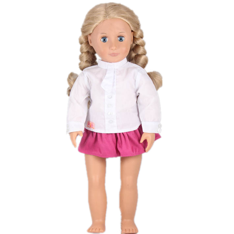 Top Fashion Casual Doll Clothing Suits OG White Shirt Red Skirts For 18 Inch American Girl Doll Best Birthday Christmas Gift