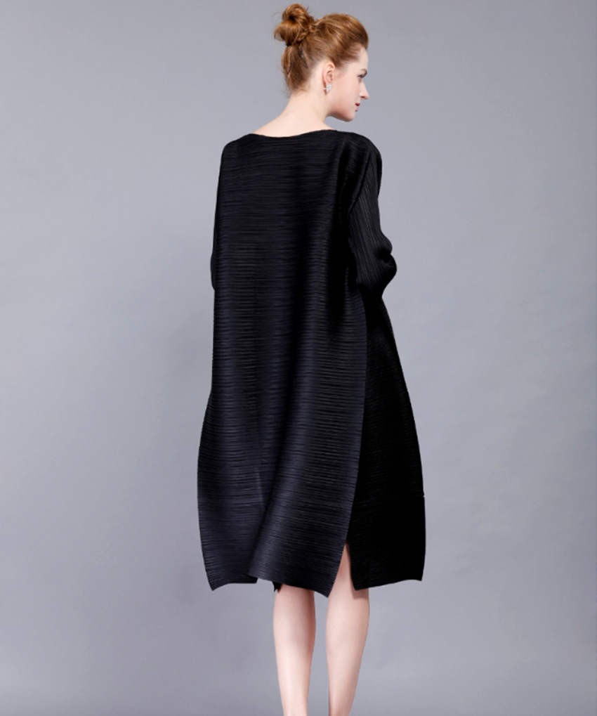 High-end mode sorte kvinders kjoler Miyak plisserede 3/4 ærmer - Dametøj - Foto 3