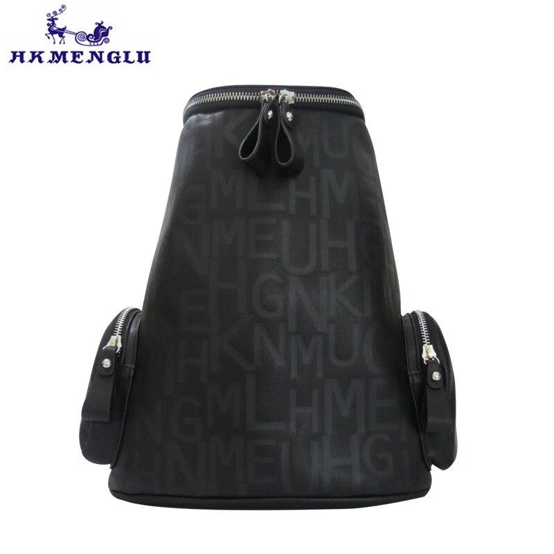 HKmenglu alphabet silk screen portable shoulder women and men bag large capacity ladies backpack high grade