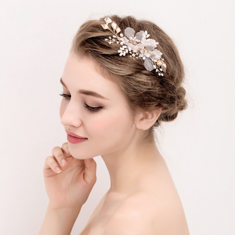 SLBRIDAL Gold Flower Leaf Crystal Freshwater Pearls Wedding Hair Clip Barrette Bridal Headpiece Hair accessories Women Jewelry цена