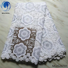 BEAUTIFICAL white cord lace african guipure lace fabric 2019 high quality lace 5 yards/lot cheap guipure lace fabrics ML2G207 guipure lace sleeve panel top