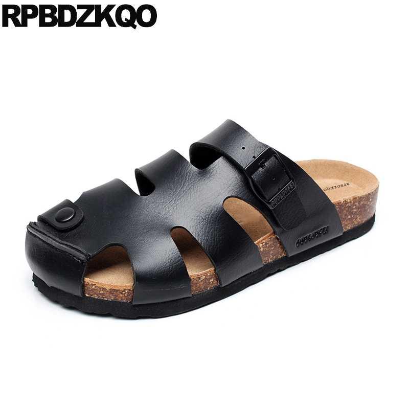 f6500dafc27 Slippers Size 45 Shoes Closed Toe Beach Black Strap Cork Slides ...