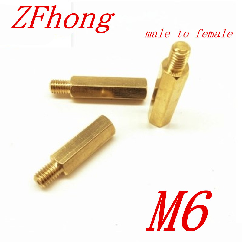 20pcs/lot M6*10/12/15/20/25/30/35/40/45/50+8 male Female Brass hex Standoff Spacer m4 male m 25 30 35 40 45 50 55 60 mm x m4 6mm female brass standoff spacer copper hexagonal stud spacer hollow pillars