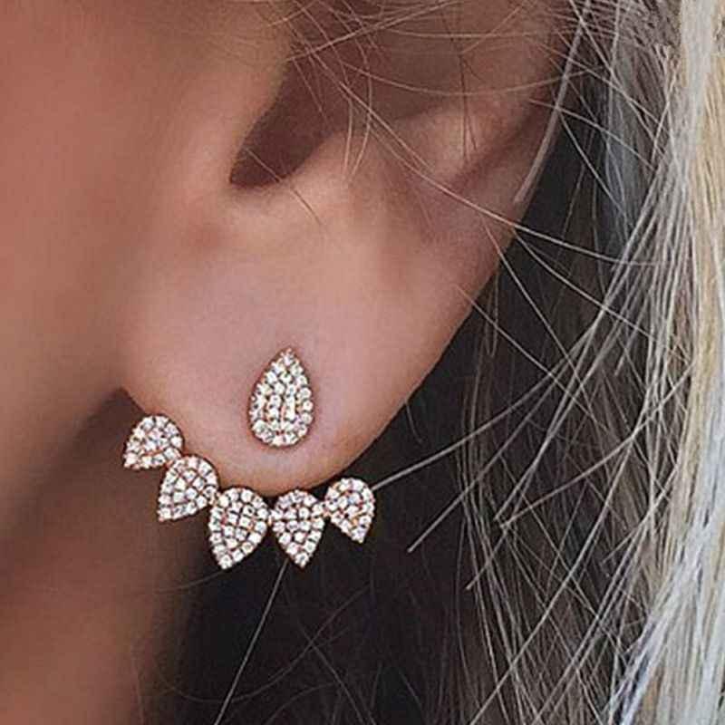 Yeni kristal çiçek bırak küpe kadınlar için moda takı altın gümüş renk Rhinestones küpe arkadaş için hediye parti günlük