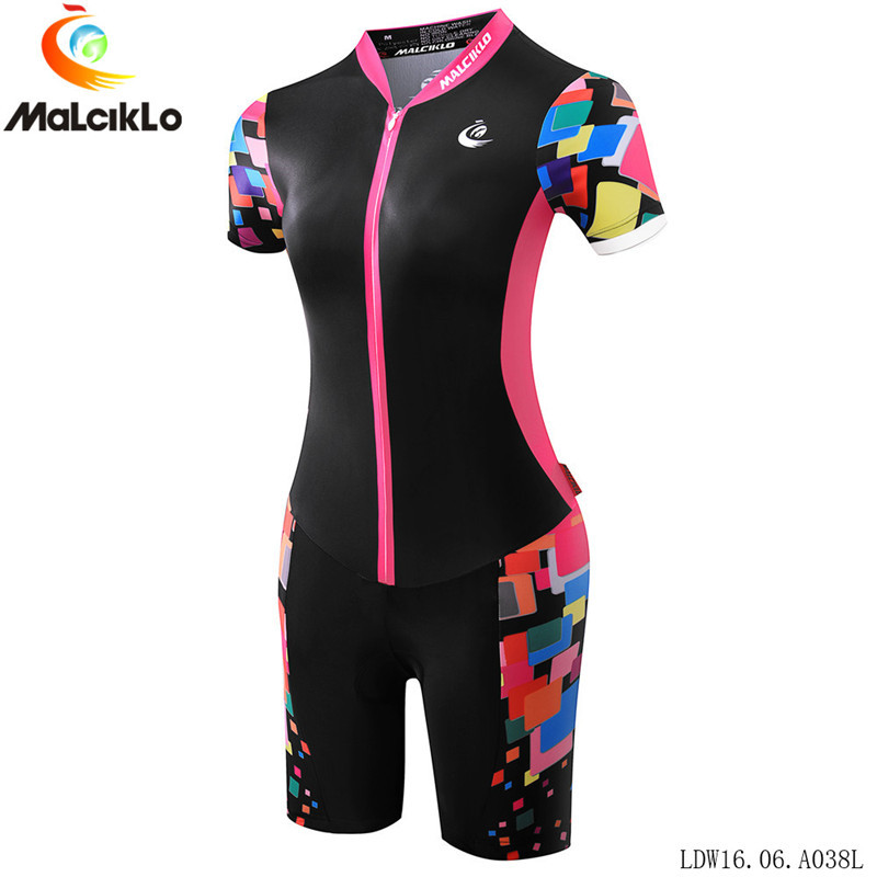 Malciklo ropa ciclismo maillot bicycle clothes women short sleeve cycling jersey set triathlon bike running swimming suit