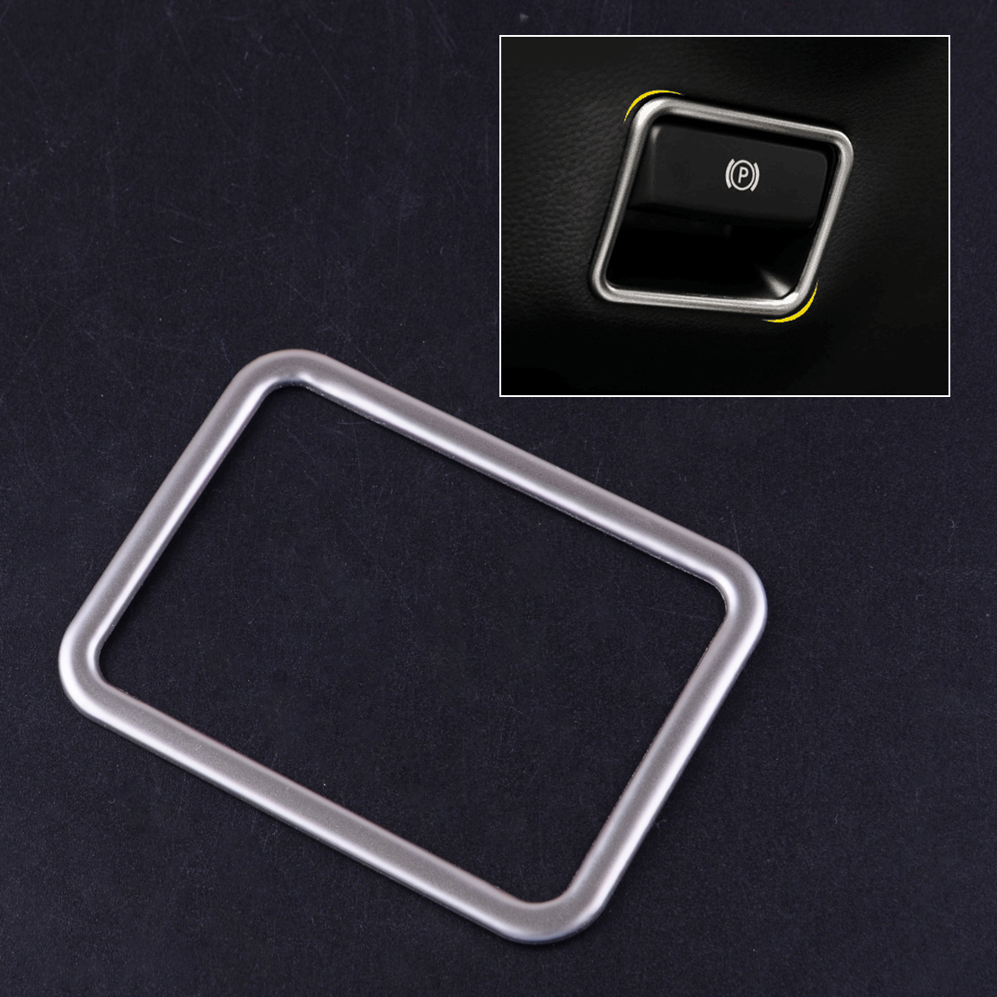 Silver Stainless Steel Parking Hand Brake Switch Sticker Cover Trim Fit for <font><b>Mercedes</b></font> Benz <font><b>W176</b></font> W246 X156 C117 image