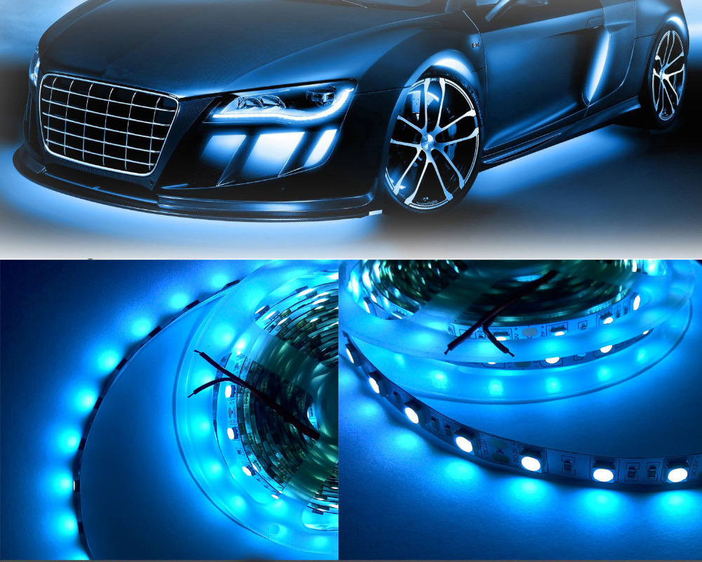 DIY <font><b>LED</b></font> U-HOME 5M Ice <font><b>Blue</b></font> 5050SMD <font><b>LED</b></font> Strip Light Non-waterproof <font><b>470nm</b></font>-480nm Wave Length for Car Room Kitchen Office Seasonal image