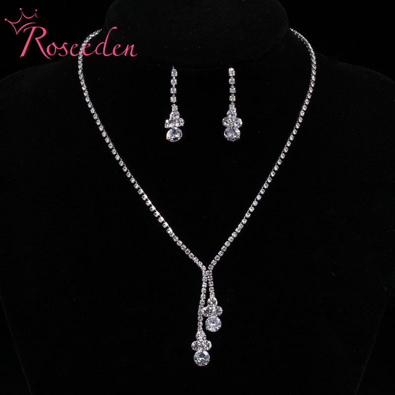 Bridal Wedding Jewelry Set Meteor Shower Rain-shape Rhinestone Necklace Long Earrings Sets Bridesmaid Jewelry Accessories RE828