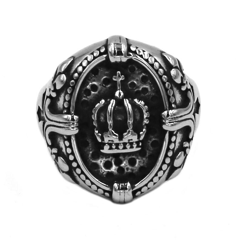 King Crown Cross Ring 316L...