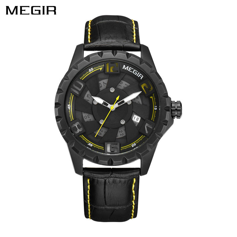 New MEGIR Men Watch Top Brand Luxury Leather Military Watch Clock Quartz Mens Watches Erkek Kol Saati Relogios Sports Wristwatch keep in touch hand clock men watch luxury calendar black quartz mens wristwatches brand fashion luminous erkek kol saati