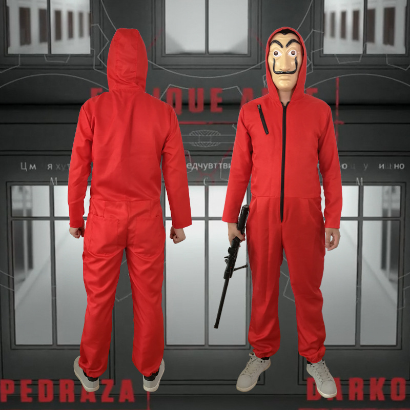 2019 Movie La Casa De Papel Salvador Dali Cosplay Costumes Women Men Money Heist The House of Paper Jumpsuits Latex Mask New