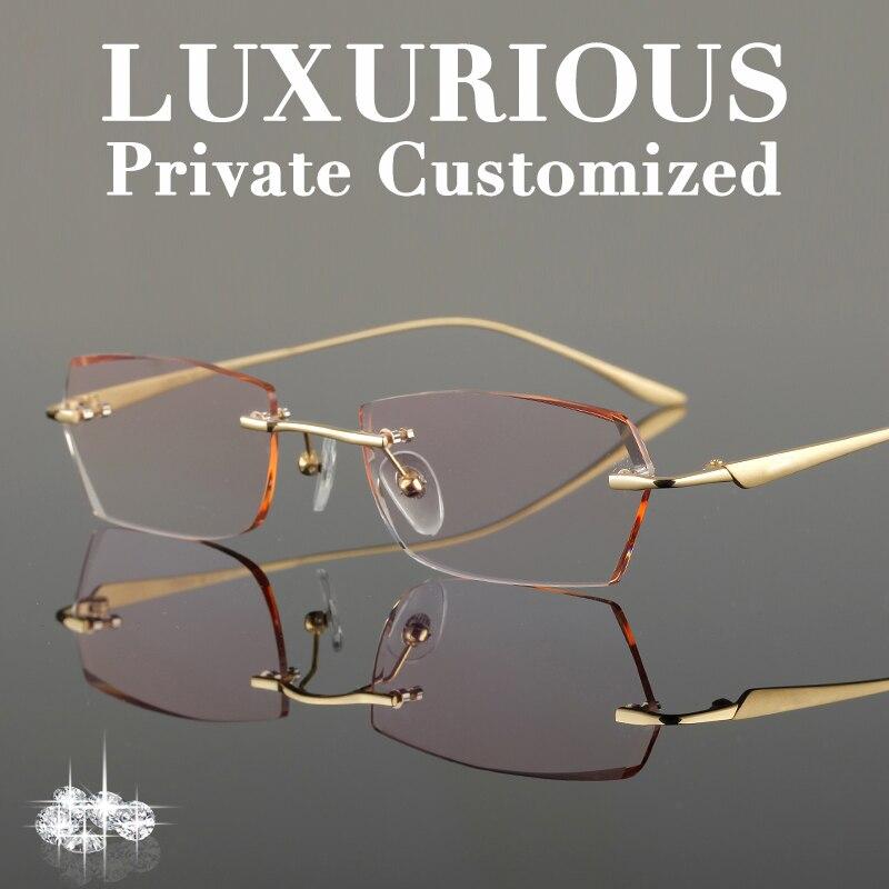 Titanium Gold Glasses Frames Men Rhinestone Eyeglass Frame Ti Luxurious High Clear Lens Anti reflective Prescription