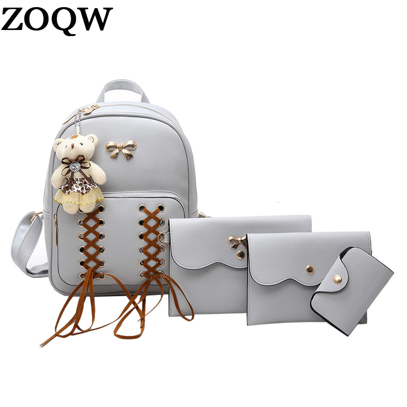 1d813146281 ZOQW 2018 Fashion Women backpacks PU Leather Backpack Female School Bags  For Teenagers Girls Shoulder Bag
