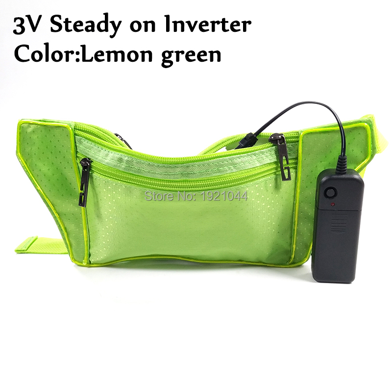 Cheap Fashion New Style EL Wire Bag Flashing Waist Bag Costume props Glow Party Decoration Supplies