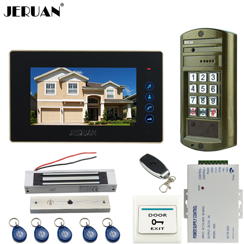 JERUAN 7 Inch Video Door Phone Intercom System kit Metal panel Waterproof Password Keypad HD Mini Camera +180KG Magnetic Lock jeruan 8 inch video door phone high definition mini camera metal panel with video recording and photo storage function