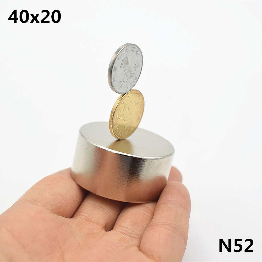 1pcs N52 Neodymium magnet 40x20 mm super strong round disc Rare earth powerful gallium metal magnets speaker 40*20mm newest magnets 2pcs dia 40x20 mm hot round magnet 40 20mm strong magnets rare earth neodymium magnet 40x20mm wholesale 40 20mm