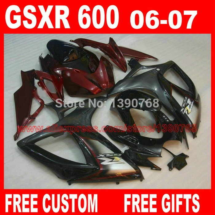 fairing body kits for SUZUKI K6 K7 gsxr600 gsxr750 2006 2007 red black fairings set GSXR600 06 GSXR750 07 X673 new motorcycle ram air intake tube duct for suzuki gsxr600 gsxr750 2006 2007 k6 abs plastic black