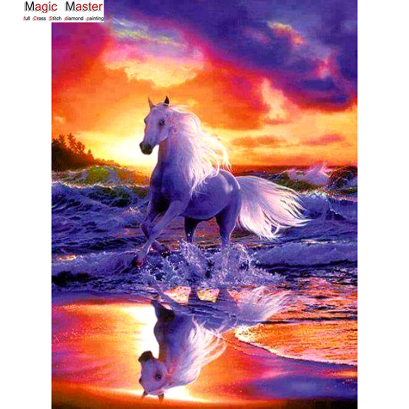 Fantasy,hobby,Needlework 5D diamond embroidery full Square diamond home decor mosaic pattern diamond painting Sunset horse ...