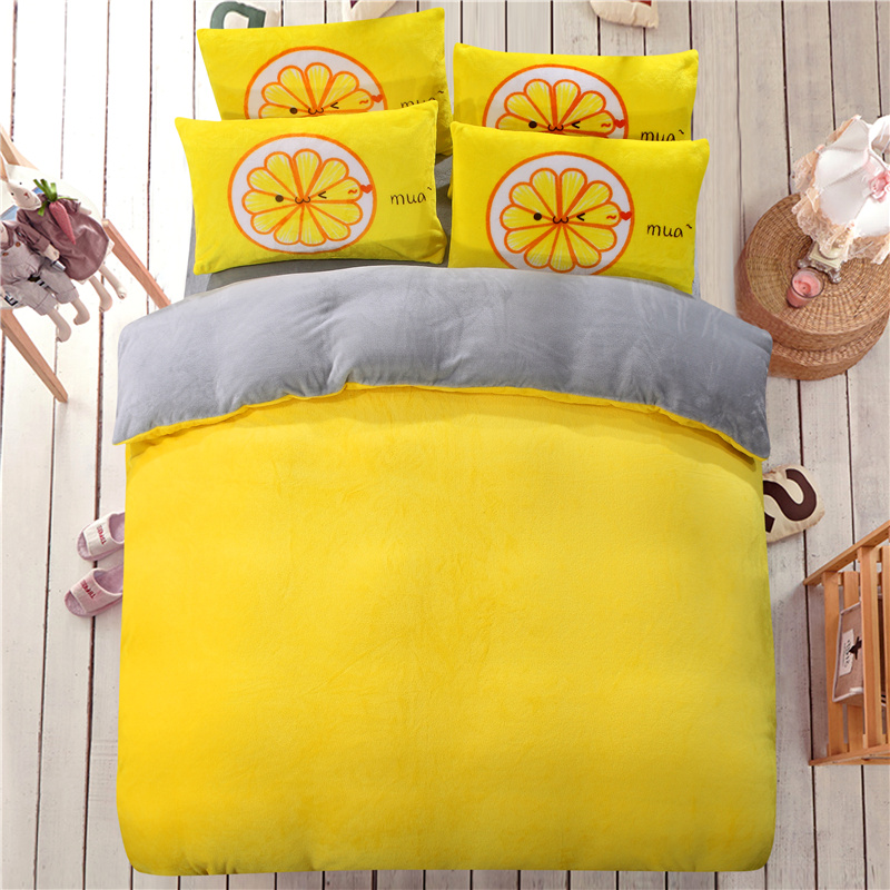 AB side bedding set flannel fleece duvet cover winter flat sheet 4pcs solid home bedclothes caroset linens two side use covers