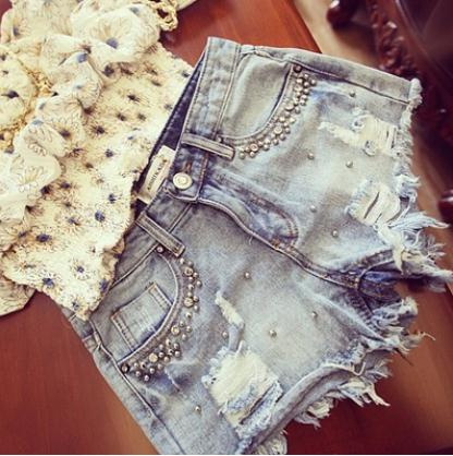 Newest  Casual Summer Denim Shorts For Womens Beaded Vintage Washed Tassel Jeans Short Fashion Female Casual Shorts S/5Xl J3018