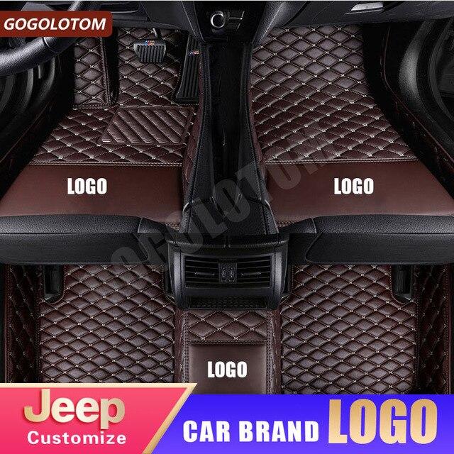 custom car floor mats Luxury Leather for Jeep Renegade Cherokee Grand Wrangler Commander Compass Patriot auto accessories