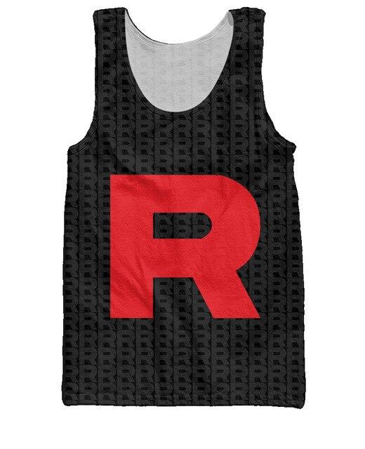 Pokemon equipo Rocket Tank Top de letras R 3d Print ropa de moda chaleco del estilo del verano rematan la ropa de moda Jersey para mujeres hombres