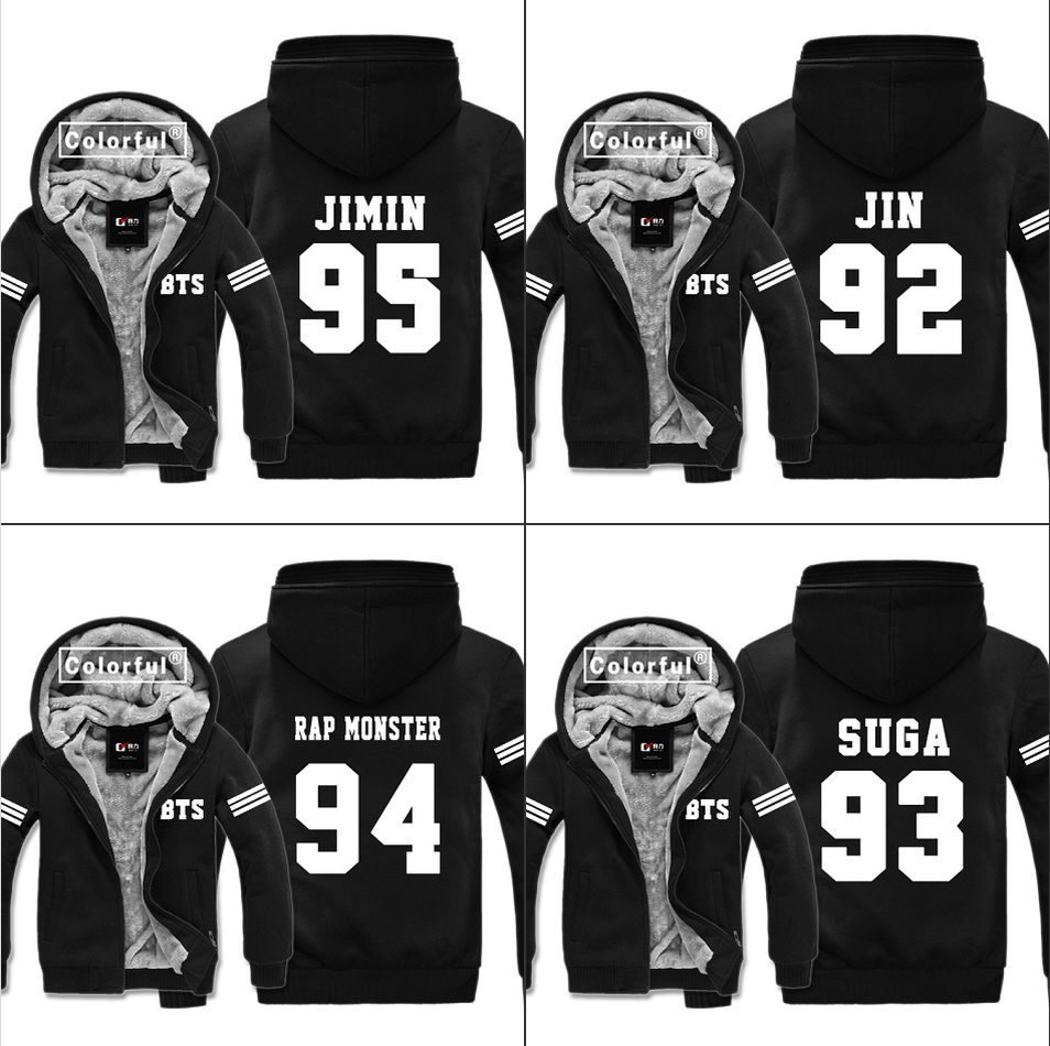 Kpop BTS Bangtan Boys Sweatshirts Thicken Hoodies Winter Casual Warm Fleece Jacket Men's Fashion black Zip Coat Cosplay Clothing