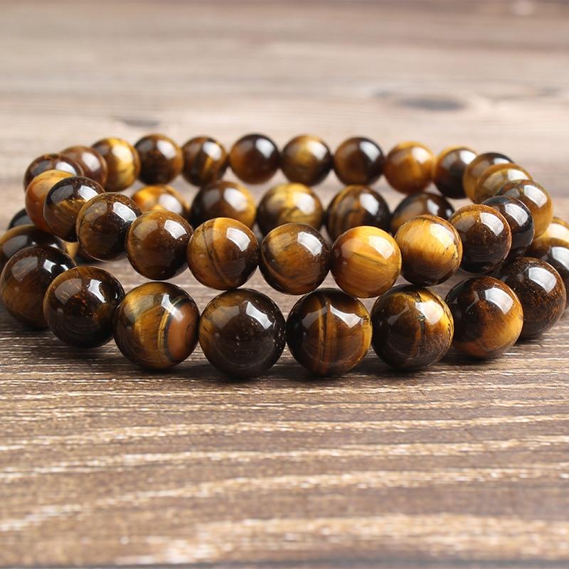 Fashion Mens Women Lava Stone Tigers Eye Yoga Beaded Necklace Gemstone 6mm Beads