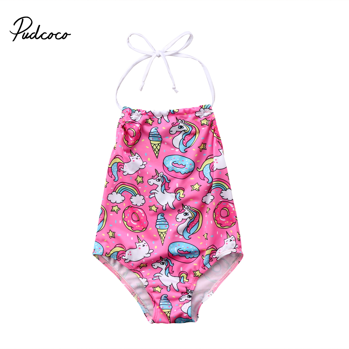 2018 Babies Unicorn Halter One-piece Swimsuit Kids Baby Girls One piece Beach Suits Swimsuit Swimwear Bathing Suit