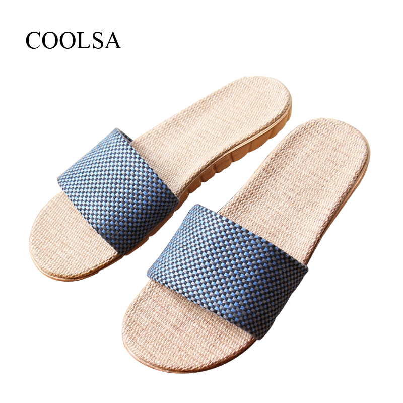 COOLSA Brand Men's Summer Flat Linen Slippers Indoor EVA Plaid Flat Shoes Men's Home Indoor Slippers Beach Non-slip Flip Flops coolsa women s summer flat non slip linen slippers indoor breathable flip flops women s brand stripe flax slippers women slides