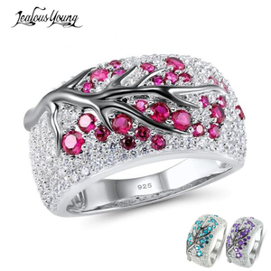 Personality Tree Shape Cubic Zirconia Women Ring Created Gem Stone Silver Color Party Fashion Engagement Ring Jewelry(China)