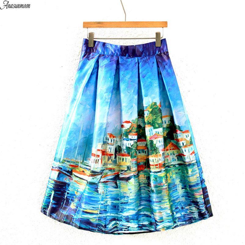 Saia Midi Skirt Summer Women Vintage Oil Painting 3D Digital Print High Waist Pleated Skirt Rockabilly Tutu Retro Puff Skirts