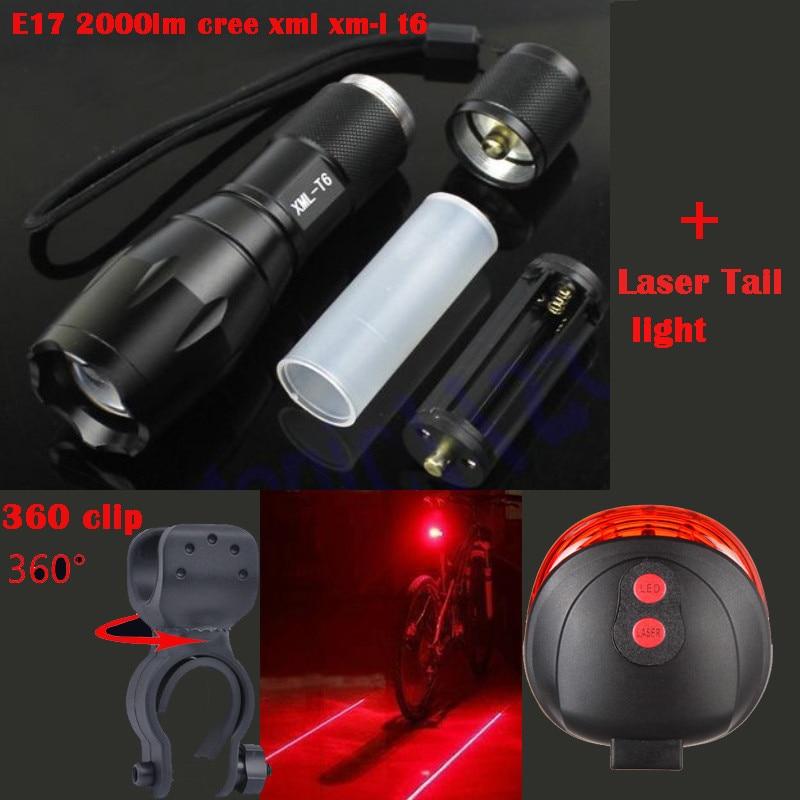 Walkfire E17 2000 Lumens XML T6 LED Zoomable Baterka Cyklistika MTB - Cyklistika