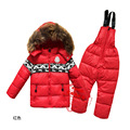2016  Winter Clothing set Boys Ski Suit Girl Down Jacket Coat + Jumpsuit Set Clothes Baby Children kids snowsuit 1619