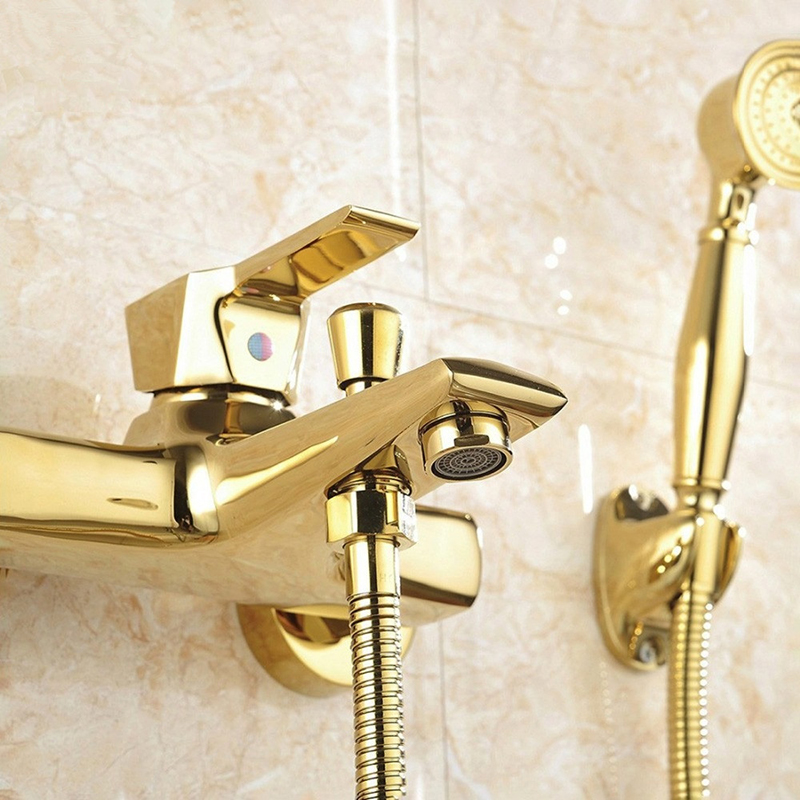 Vidric Brass Gold Plated Bathtub Faucet With Hand Shower, Wall Mounted Bathroom Bath Shower Faucets Mixer Tap Torneiras