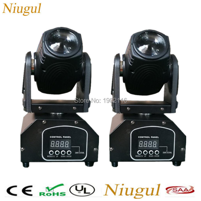 2pcs/lot Niugul Mini 10W RGBW 4in1 Led beam moving head light  Disco Spotlight DMX512 Beam DJ Stage Party Show effect Lighting 10w mini led beam moving head light led spot beam dj disco lighting christmas party light rgbw dmx stage light effect chandelier