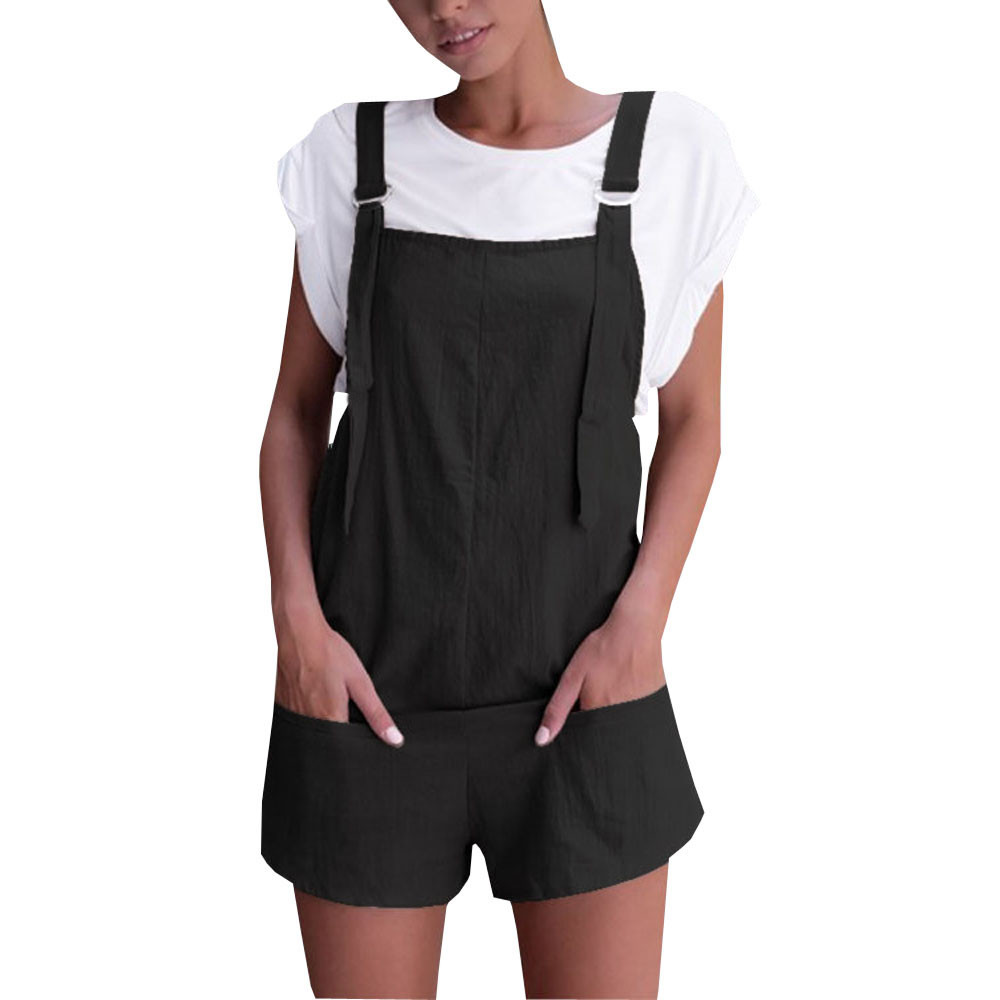 Feitong Summer 2018 Women Playsuits Elastic Waist Dungarees Linen Cotton Pockets Rompers Playsuit Shorts Pants