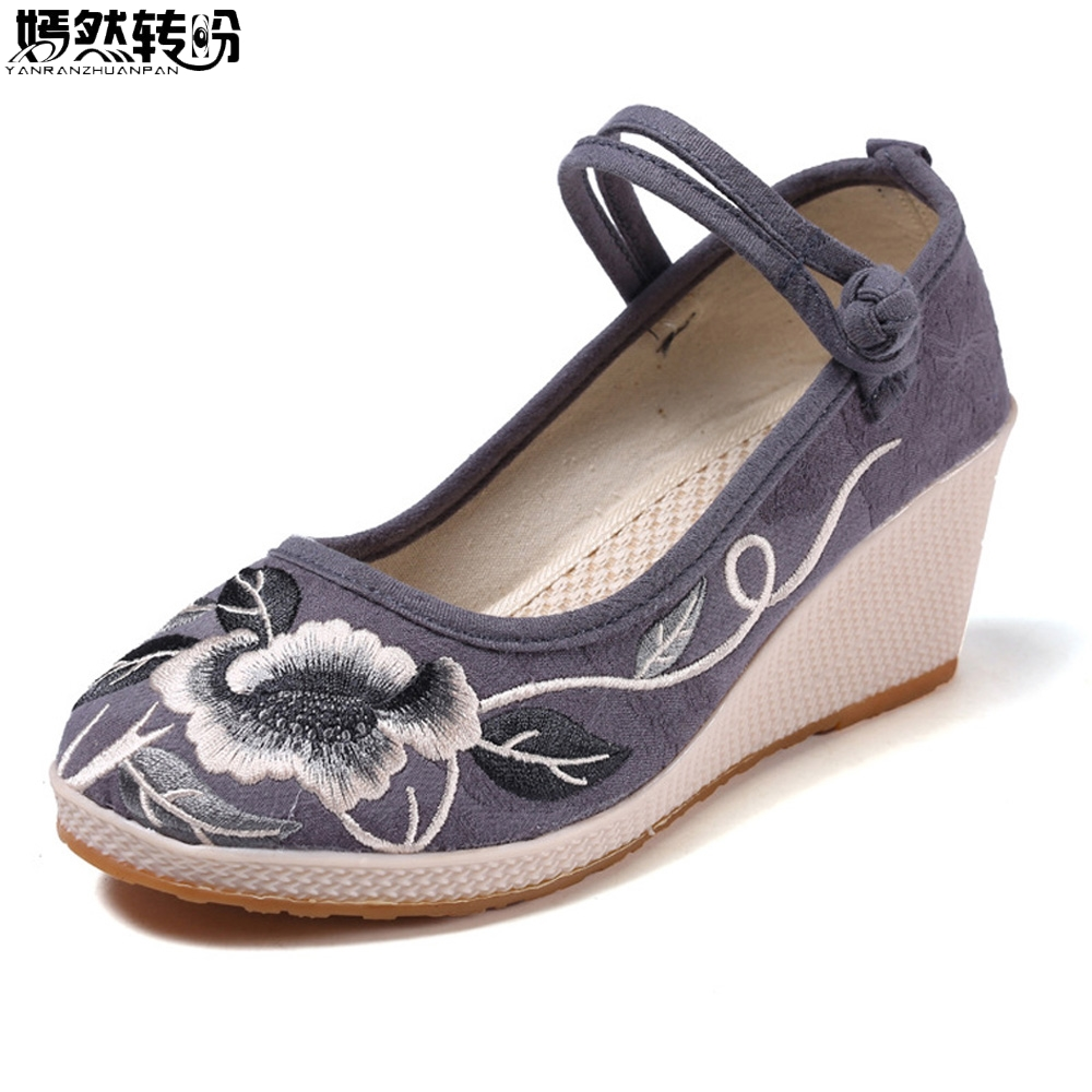 Handmade Women Pumps Casual Linen Canvas Embroidered Espadrilles Wedge Platforms Ladies Med Heel Cotton Embroidery Shoes denim embroidered wedge shoes