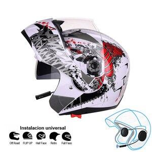 Image 3 - 오토바이 블루투스 헬멧 듀얼 바이저 모듈러 플립 bt 헬멧 레이싱 모토 크로스 헬멧 dot ece 스티커 M XXL 오토바이 헬멧
