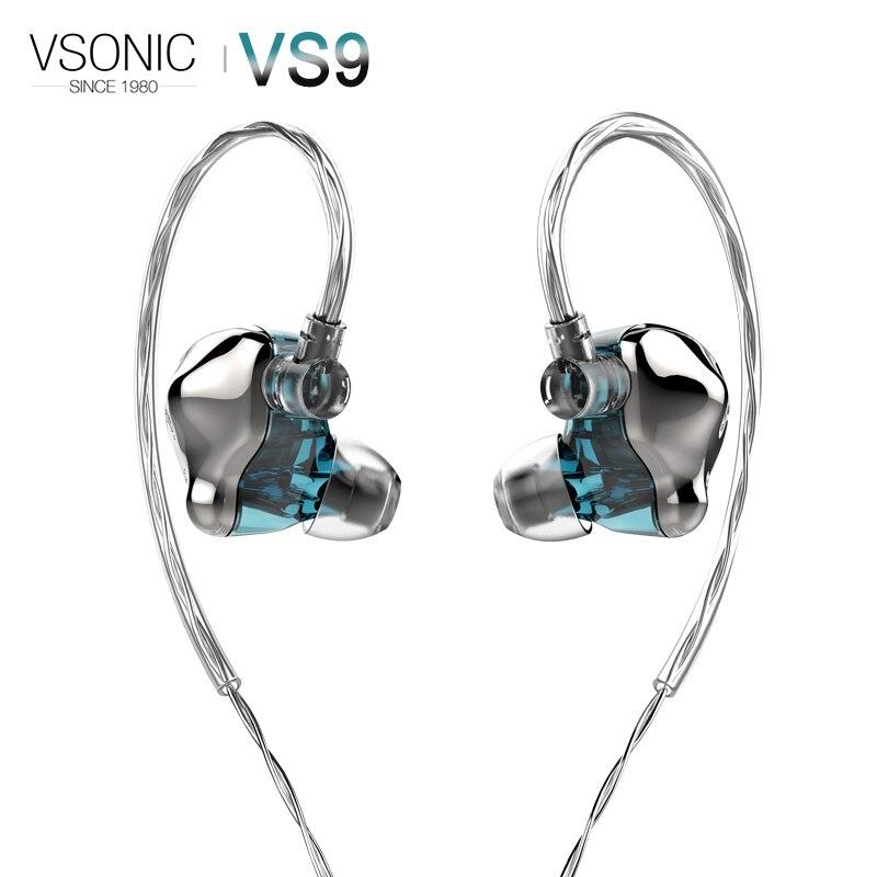 VSONIC Flagship VS9 ICEBERG Driver Dinâmico Fone de ouvido de Alta Fidelidade de ÁUDIO IEM com 2 pin 0.78 milímetros de Prata Esterlina Destacável Cab